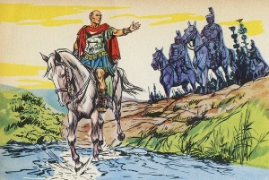 """Cesare passa il Rubicone: """"il dado è tratto""""."""