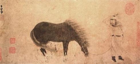 Zhao Mengfu - Uomo con il suo cavallo nel vento 3
